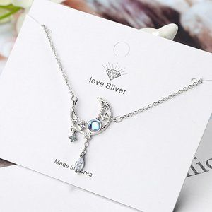 NEW 925 Sterling Silver Diamond Moon Necklace